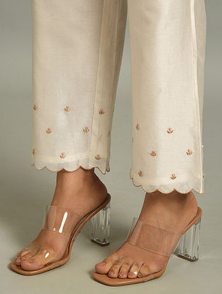 Off White Silk Chanderi Pants with Embroidery