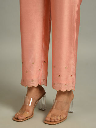Peach Silk Chanderi Pants with Embroidery