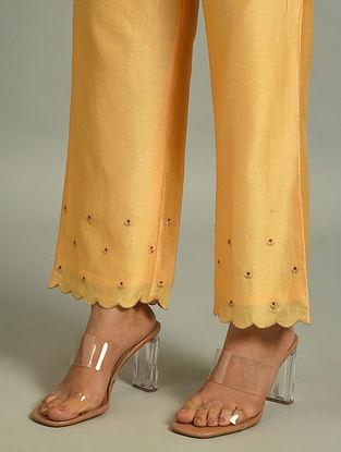Orange Silk Chanderi Pants with Embroidery