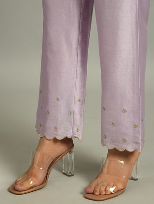 Lavender Silk Chanderi Pants with Embroidery