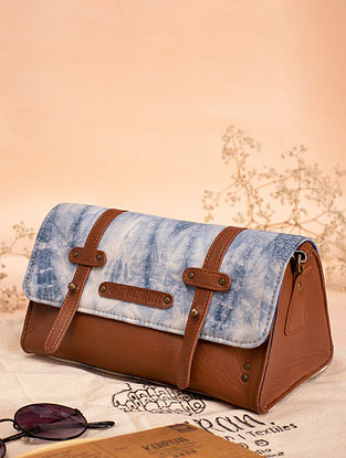 White Handcrafted Canvas Cotton Leather Sling Bag