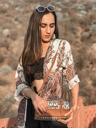 Grey Handcrafted Ikat Cotton Leather Sling Bag