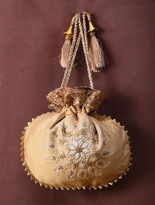 Beige Handcrafted Chikankari Silk Potli