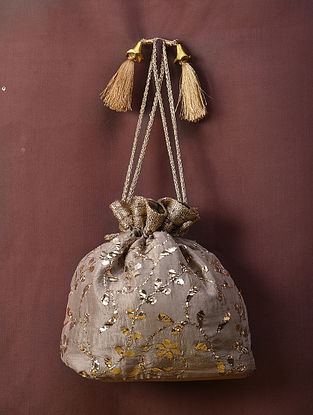 Light Beige Handcrafted Mukaish Silk Potli