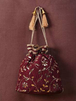 Maroon Handcrafted Mukaish Silk Potli
