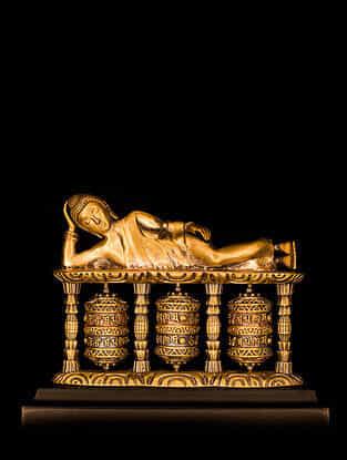 Reclining Buddha Brass Car Decor (L-2.76in ,W- 3.74in)