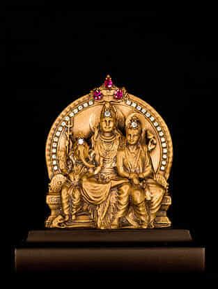 Shiva-Parvati-Ganesha Brass Car Decor (L-3.46in ,W- 1.93in)