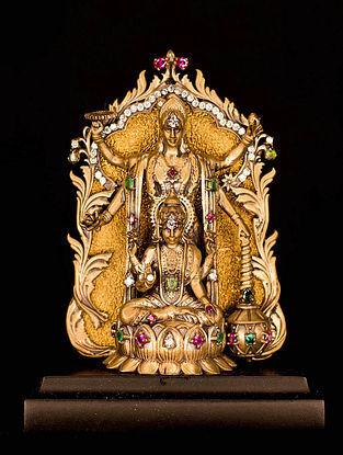 Lord Vishnu-Goddess Lakshmi Brass Car Decor (L-3.54in ,W- 2.17in)