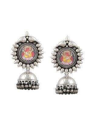 Handpainted Sterling Silver Jhumki Earrings