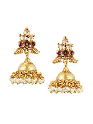 Gold Tone Sterling Silver Jhumki Earrings