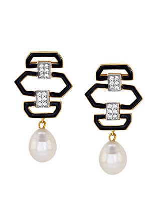 Black Enamel Linear Earrings