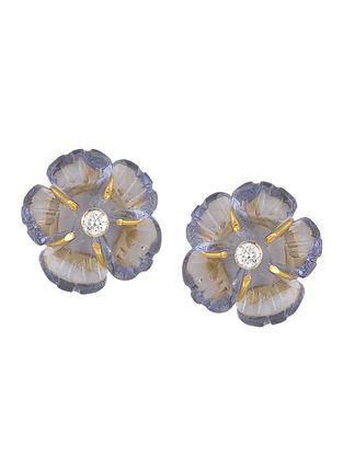 Mini Grey Floral Studs
