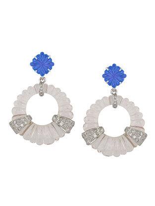 Blue Crystal Knob Earrings