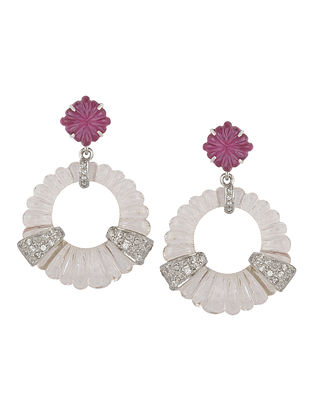 Pink And Crystal Knob Earrings