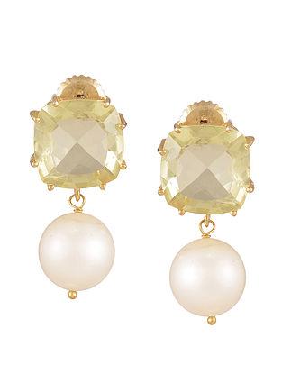 Lemon Quartz Pearl Drop Earrings