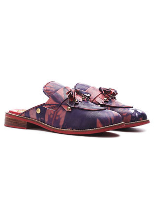 Purple Pink Handcrafted Tie Dyed Genuine Leather Mules
