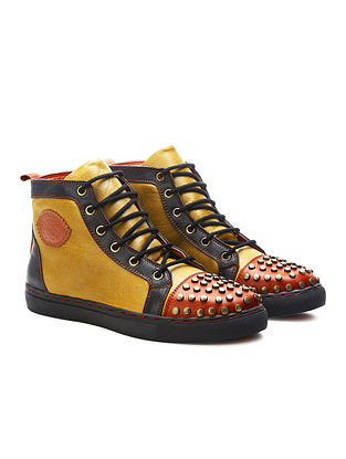 Yellow Red Embellished Genuine Leather Shoes