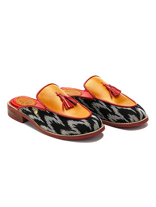 Multicolored Handcrafted Ikat Woven Genuine Leather Mules