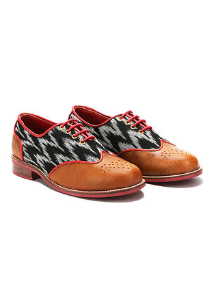 Multicolored Handcrafted Ikat Woven Genuine Leather Shoes