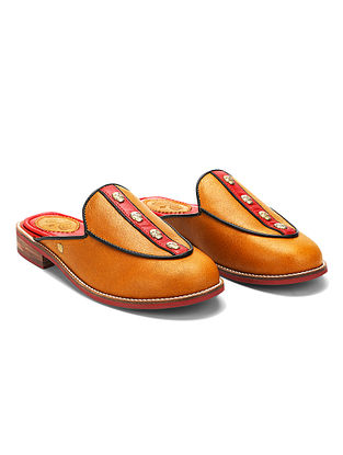 Tan Red Embellished Genuine Leather Mules