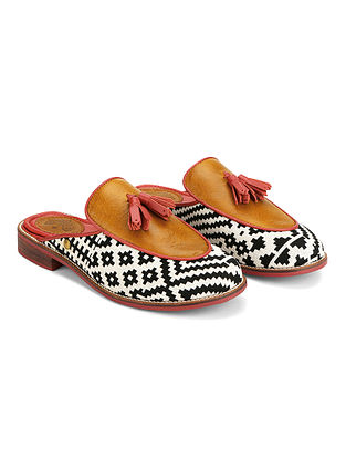 Multicolored Handcrafted Woven Genuine leather Mules