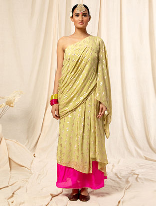 Golden Crepe Top with Skirt