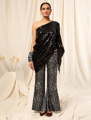 Black Sequins Georgette Top with Crepe Palazzos