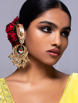 White Gold Tone Kundan Earrings With Ear Chains