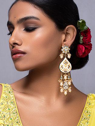Cream Gold Tone Kundan Enameled Earrings