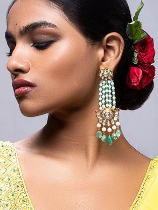 White Green Gold Tone Kundan Beaded Earrings