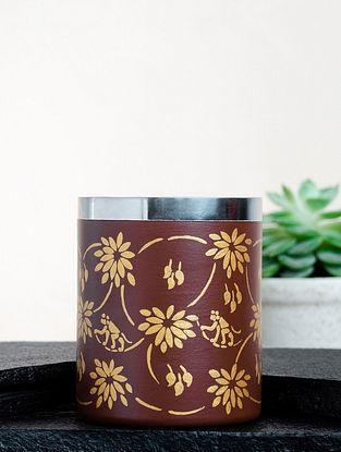 Brown Steel Sanjhi Leaves Coffee Mug (Dia-3in ,H- 3.5in)