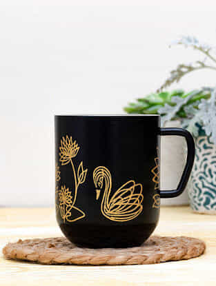 Black Steel Stygian Cygnus Coffee Mug (Dia-3in ,H- 3.5in)