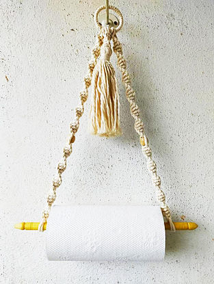 White Macrame Kitchen Tissue Roll Holder (L-16in)