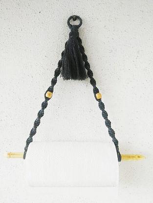 Black Macrame Kitchen Tissue Roll Holder (L-16in)