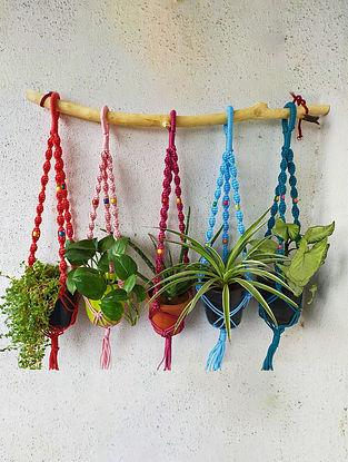 Multicolour Macrame Planter Holder (Set of 5) (L-27in)