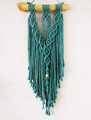 Teal Macrame Wall Hanging (L-25in)