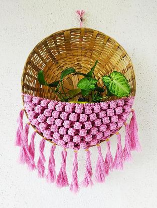 Pink Macrame Basket Planter Holder (L-22in ,Dia-13in)