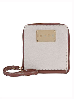 Brown Beige Handcrafted Faux Leather Wristlet