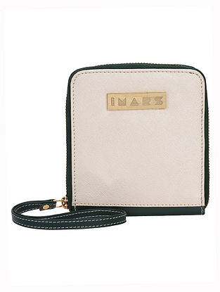 Green Beige Handcrafted Faux Leather Wristlet