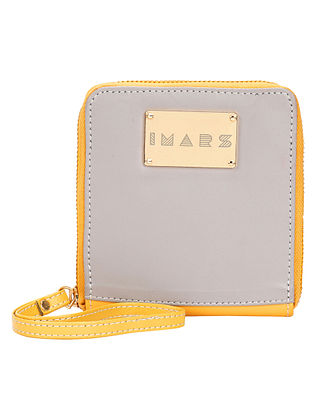 Yellow Grey Handcrafted Faux Leather Wristlet