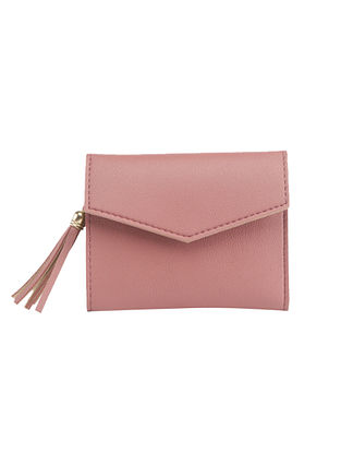 Pink Handcrafted Faux Leather Wallet