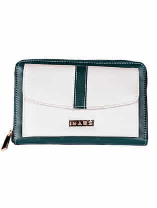 Green White Handcrafted Faux Leather Sling Bag