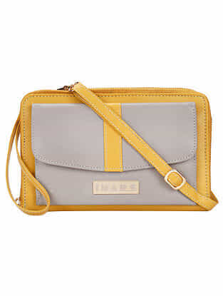 Yellow Grey Handcrafted Faux Leather Sling Bag