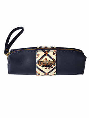 Blue Handcrafted Printed Faux Leather Travel Kit