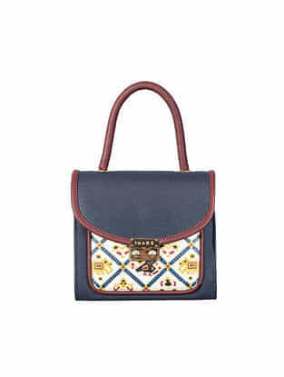 Blue Handcrafted Printed Faux Leather Sling Bag