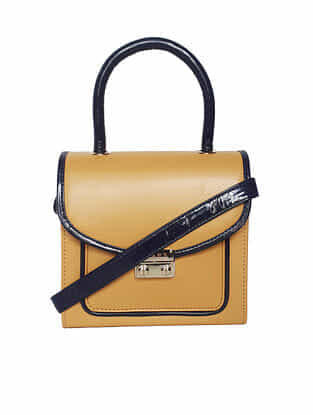Yellow Handcrafted Faux Leather Sling Bag