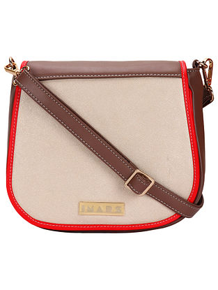 Brown Red Handcrafted Faux Leather Sling Bag