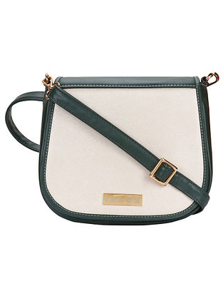 Green Beige Handcrafted Faux Leather Sling Bag