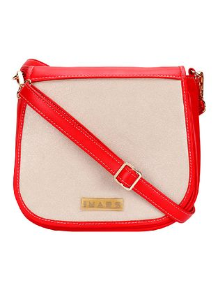 Red Beige Handcrafted Faux Leather Sling Bag