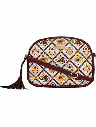 Red Handcrafted Printed Faux Leather Sling Bag